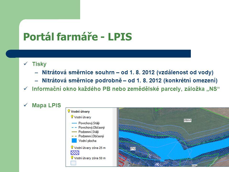 Portál farmáře - LPIS  Tisky –Nitrátová směrnice souhrn – od 1.