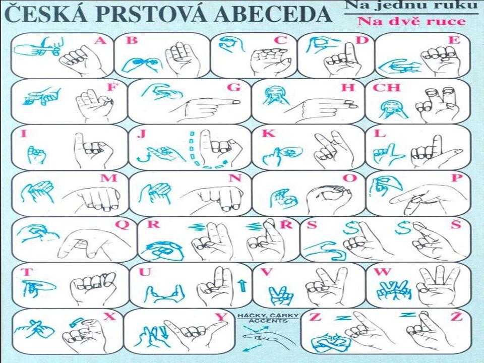  Znakovaná čeština  Uměle vytvořený komunikační systém na rozhraní českého jazyka a českého znakového jazyka  Znakový jazyk  V našem případě český znakový jazyk  Přirozený jazyk osob s těžkým sluchovým postižením