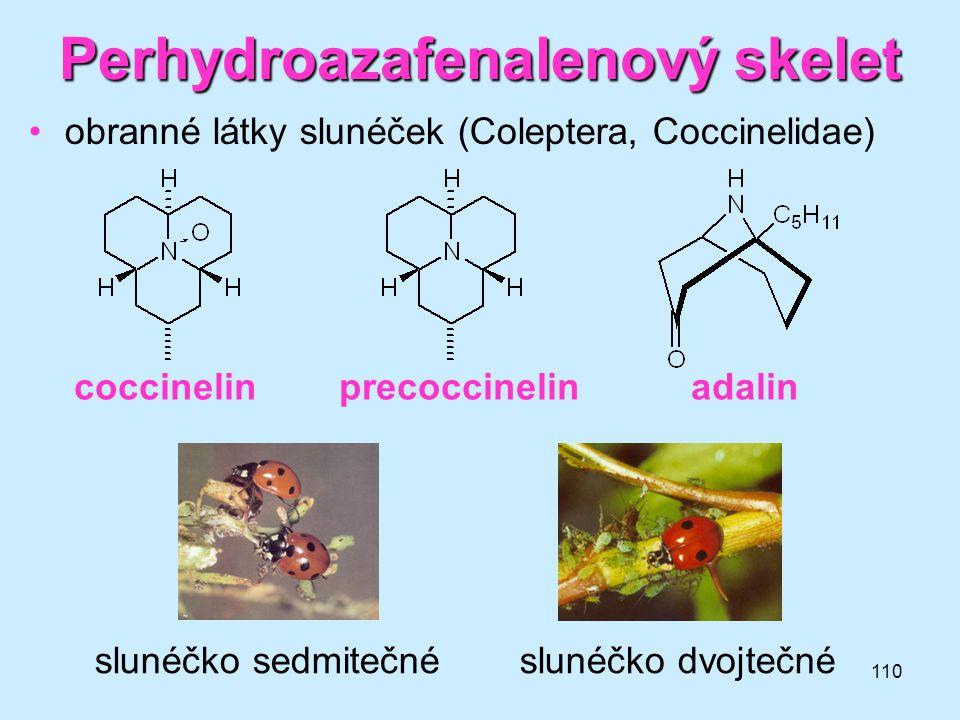 110 Perhydroazafenalenový skelet •obranné látky slunéček (Coleptera, Coccinelidae) coccinelin precoccinelin adalin slunéčko sedmitečné slunéčko dvojte