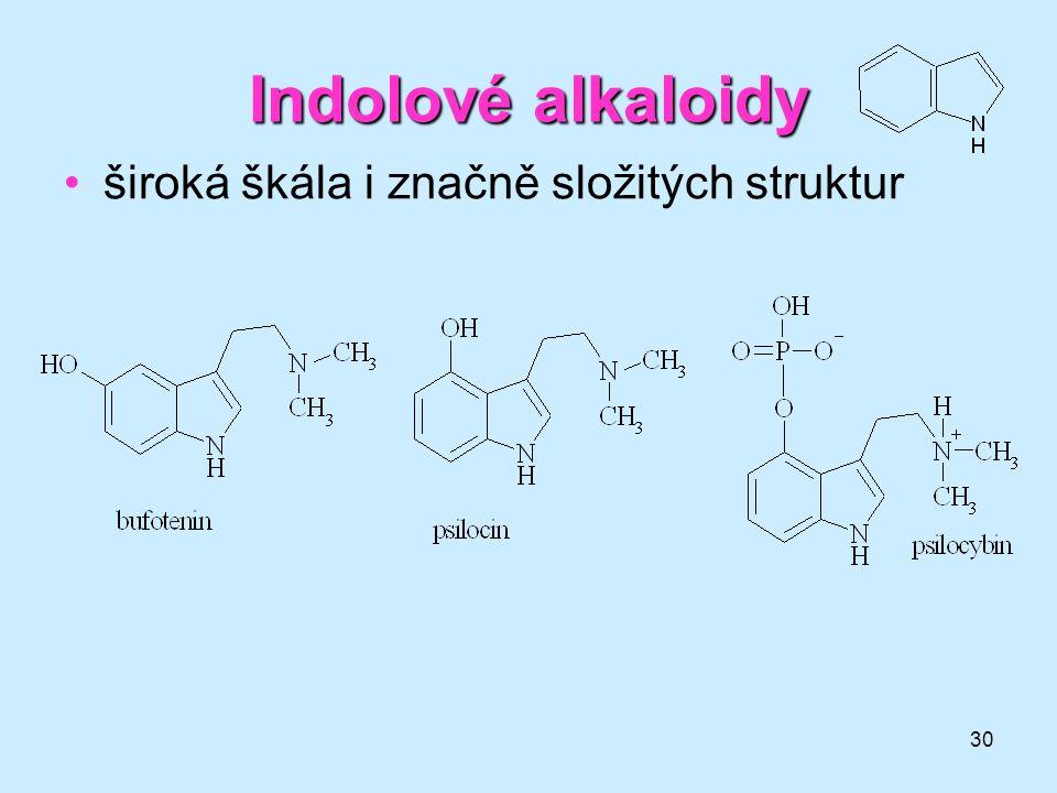 30 Indolovéalkaloidy Indolové alkaloidy •široká škála i značně složitých struktur