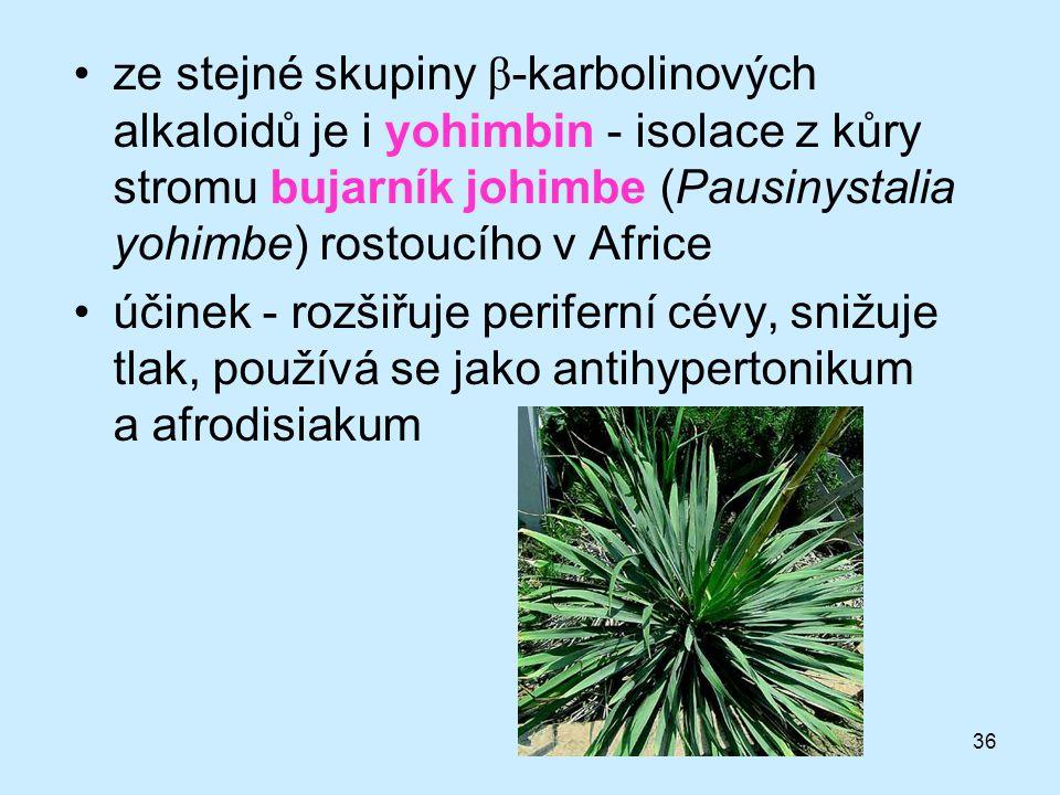 36 •ze stejné skupiny β -karbolinových alkaloidů je i yohimbin - isolace z kůry stromu bujarník johimbe (Pausinystalia yohimbe) rostoucího v Africe •ú
