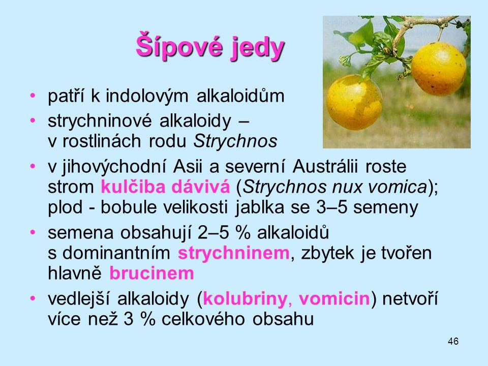46 Šípové jedy •patří k indolovým alkaloidům •strychninové alkaloidy – v rostlinách rodu Strychnos •v jihovýchodní Asii a severní Austrálii roste stro