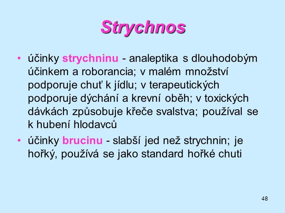 48 Strychnos •účinky strychninu - analeptika s dlouhodobým účinkem a roborancia; v malém množství podporuje chuť k jídlu; v terapeutických podporuje d