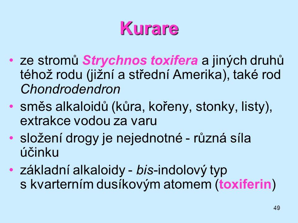 49 Kurare •ze stromů Strychnos toxifera a jiných druhů téhož rodu (jižní a střední Amerika), také rod Chondrodendron •směs alkaloidů (kůra, kořeny, st
