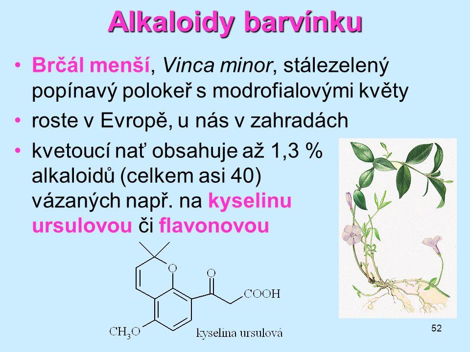 52 Alkaloidybarvínku Alkaloidy barvínku •Brčál menší, Vinca minor, stálezelený popínavý polokeř s modrofialovými květy •roste v Evropě, u nás v zahrad