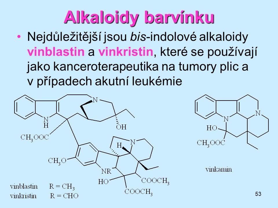 53 Alkaloidybarvínku Alkaloidy barvínku •Nejdůležitější jsou bis-indolové alkaloidy vinblastin a vinkristin, které se používají jako kanceroterapeutik