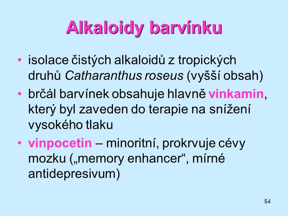 54 Alkaloidybarvínku Alkaloidy barvínku •isolace čistých alkaloidů z tropických druhů Catharanthus roseus (vyšší obsah) •brčál barvínek obsahuje hlavn