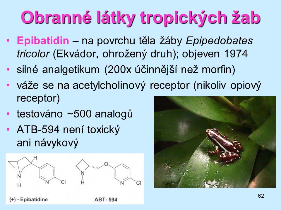 62 Obranné látky tropických žab •Epibatidin – na povrchu těla žáby Epipedobates tricolor (Ekvádor, ohrožený druh); objeven 1974 •silné analgetikum (20