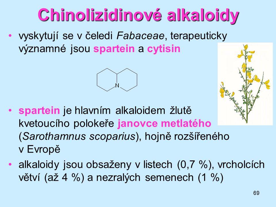69 Chinolizidinové alkaloidy •vyskytují se v čeledi Fabaceae, terapeuticky významné jsou spartein a cytisin •spartein je hlavním alkaloidem žlutě kvet