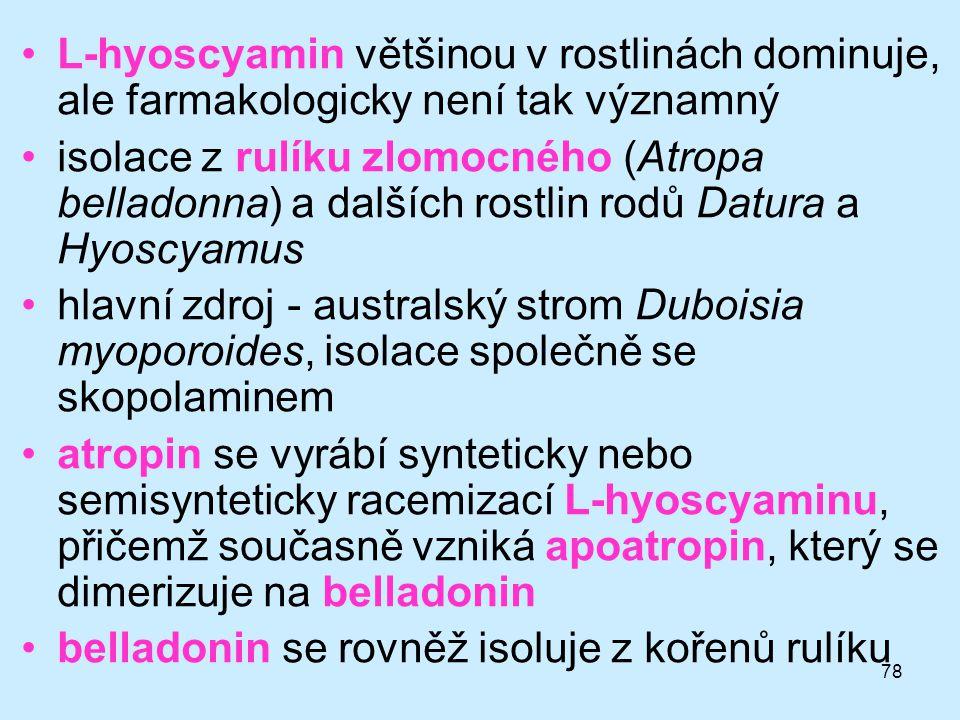 78 •L-hyoscyamin většinou v rostlinách dominuje, ale farmakologicky není tak významný •isolace z rulíku zlomocného (Atropa belladonna) a dalších rostl