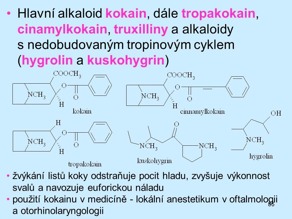 85 •Hlavní alkaloid kokain, dále tropakokain, cinamylkokain, truxilliny a alkaloidy s nedobudovaným tropinovým cyklem (hygrolin a kuskohygrin) •žvýkán