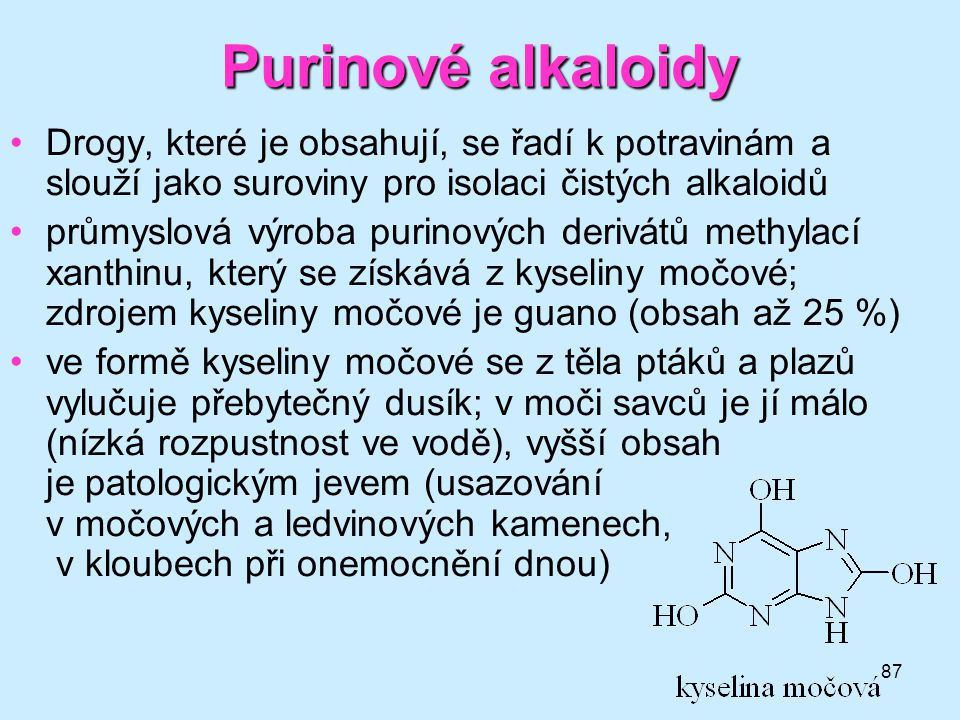 87 •Drogy, které je obsahují, se řadí k potravinám a slouží jako suroviny pro isolaci čistých alkaloidů •průmyslová výroba purinových derivátů methyla
