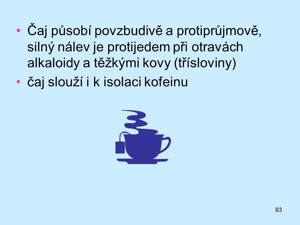 93 •Čaj působí povzbudivě a protiprůjmově, silný nálev je protijedem při otravách alkaloidy a těžkými kovy (třísloviny) •čaj slouží i k isolaci kofein