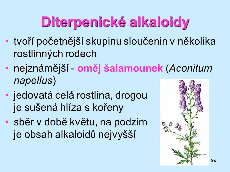 99 Diterpenické alkaloidy •tvoří početnější skupinu sloučenin v několika rostlinných rodech •nejznámější - oměj šalamounek (Aconitum napellus) •jedova