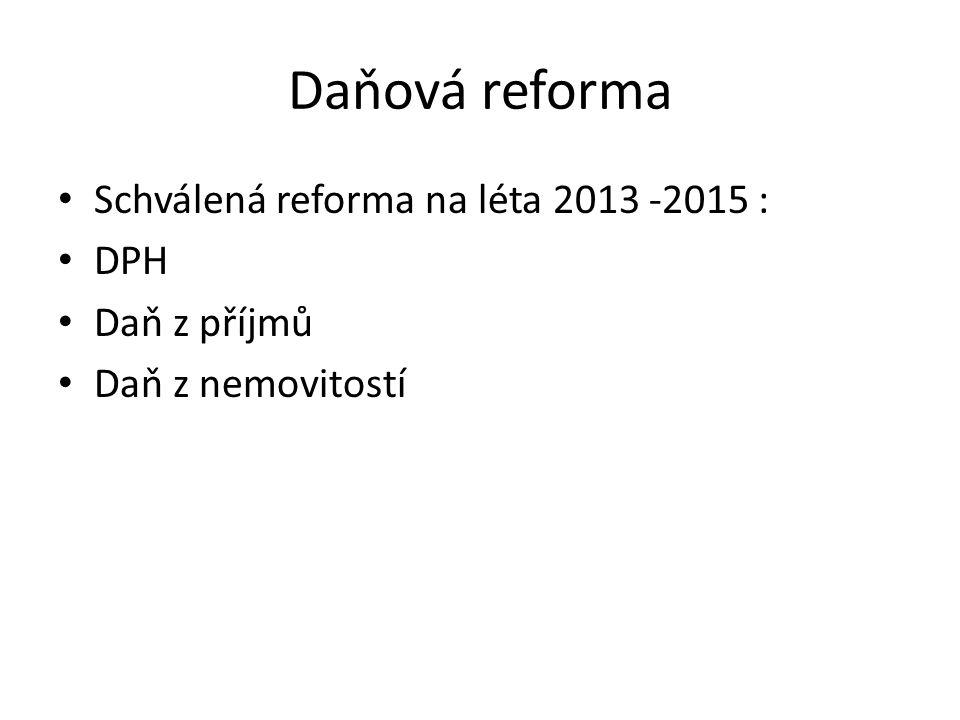 Daňová reforma • Schválená reforma na léta 2013 -2015 : • DPH • Daň z příjmů • Daň z nemovitostí