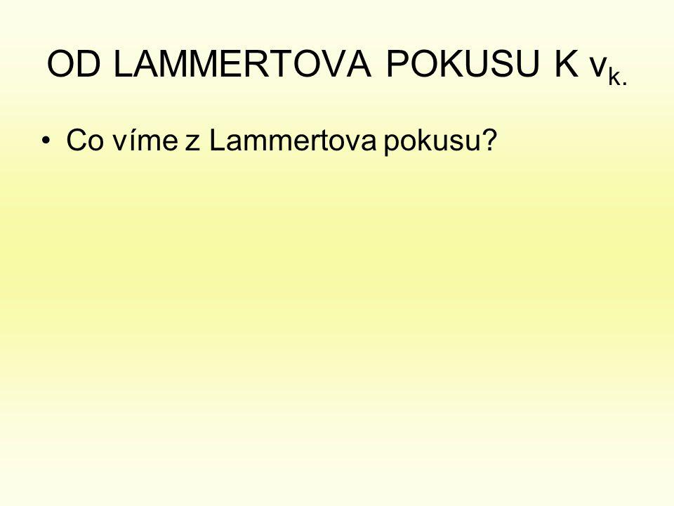 OD LAMMERTOVA POKUSU K v k. •Co víme z Lammertova pokusu?