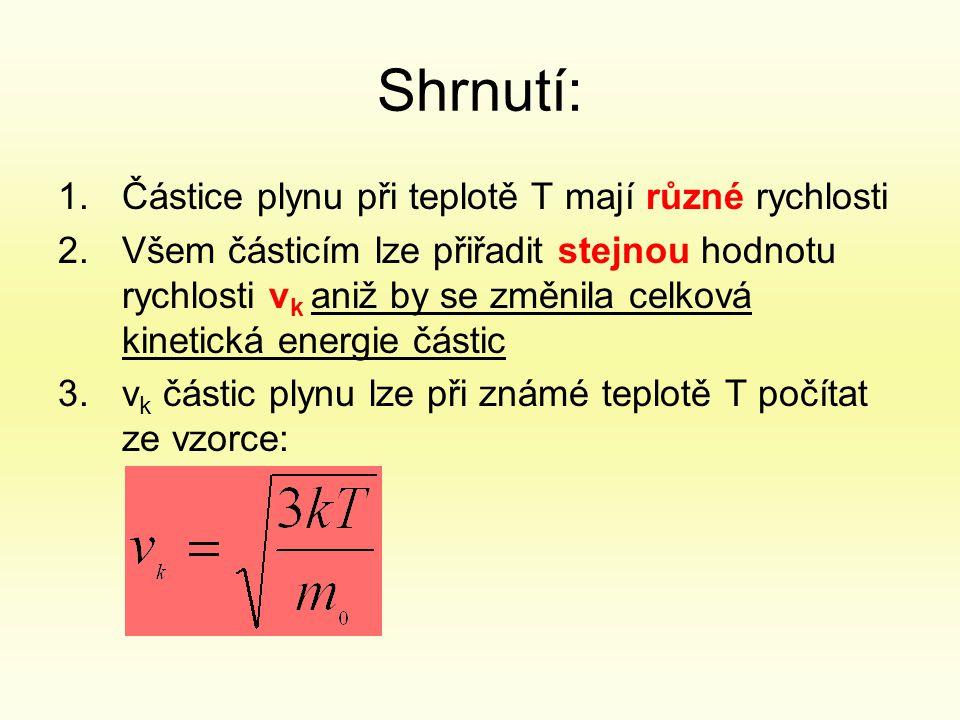 Shrnutí: 1.Částice plynu při teplotě T mají různé rychlosti 2.Všem částicím lze přiřadit stejnou hodnotu rychlosti v k aniž by se změnila celková kinetická energie částic 3.v k částic plynu lze při známé teplotě T počítat ze vzorce: