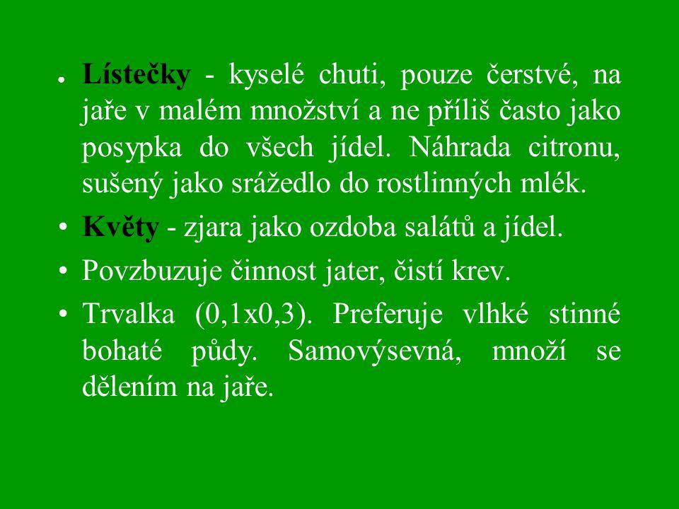 ● Lístečky - kyselé chuti, pouze čerstvé, na jaře v malém množství a ne příliš často jako posypka do všech jídel.