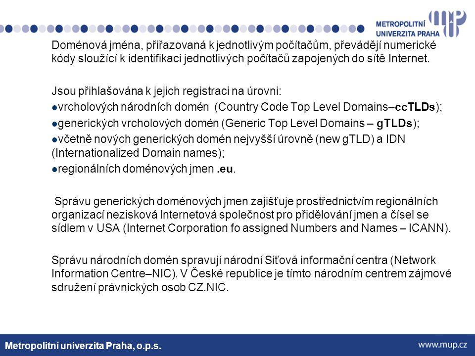 Mezi vrcholové generické domény patří od roku 1980 původní:.com,.net,.org, edu,.gov,.int,.mil, od roku 2000:.aero,.coop,.museum,.biz,.info,.name,.pro.