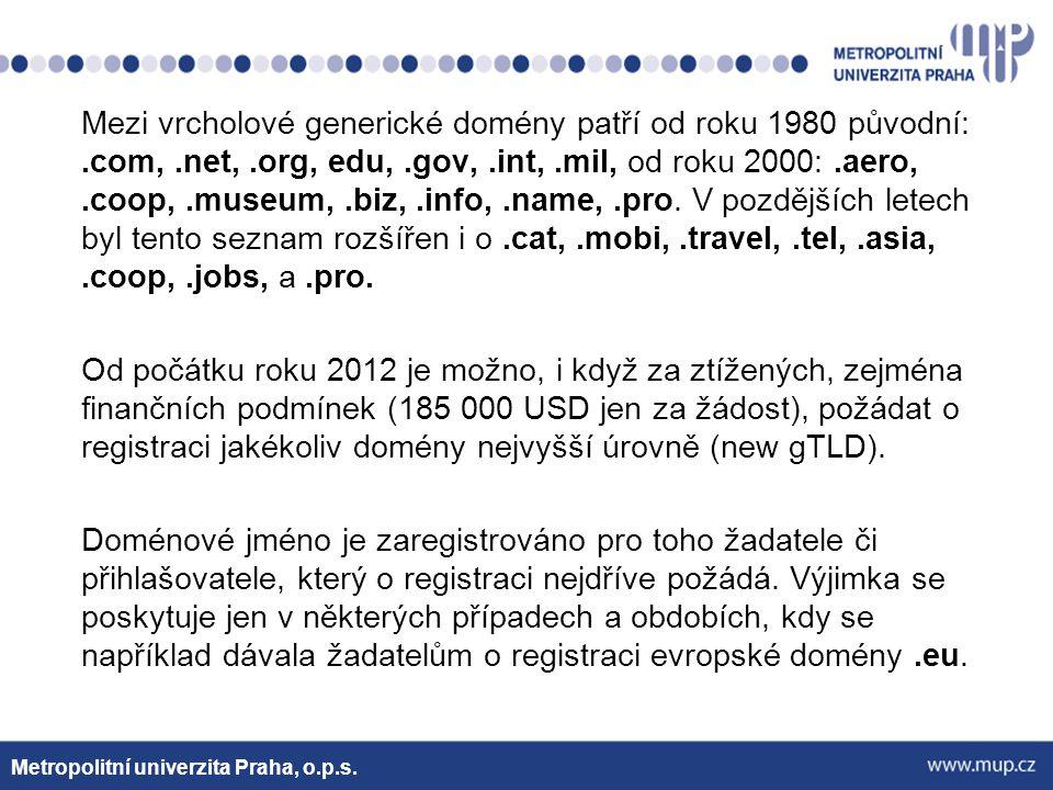 Děkuji za pozornost Metropolitní univerzita Praha, o.p.s.