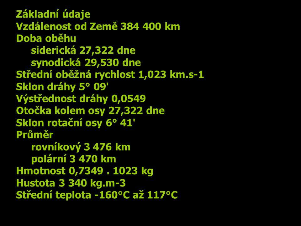Základní údaje Vzdálenost od Země 384 400 km Doba oběhu siderická 27,322 dne synodická 29,530 dne Střední oběžná rychlost 1,023 km.s-1 Sklon dráhy 5°