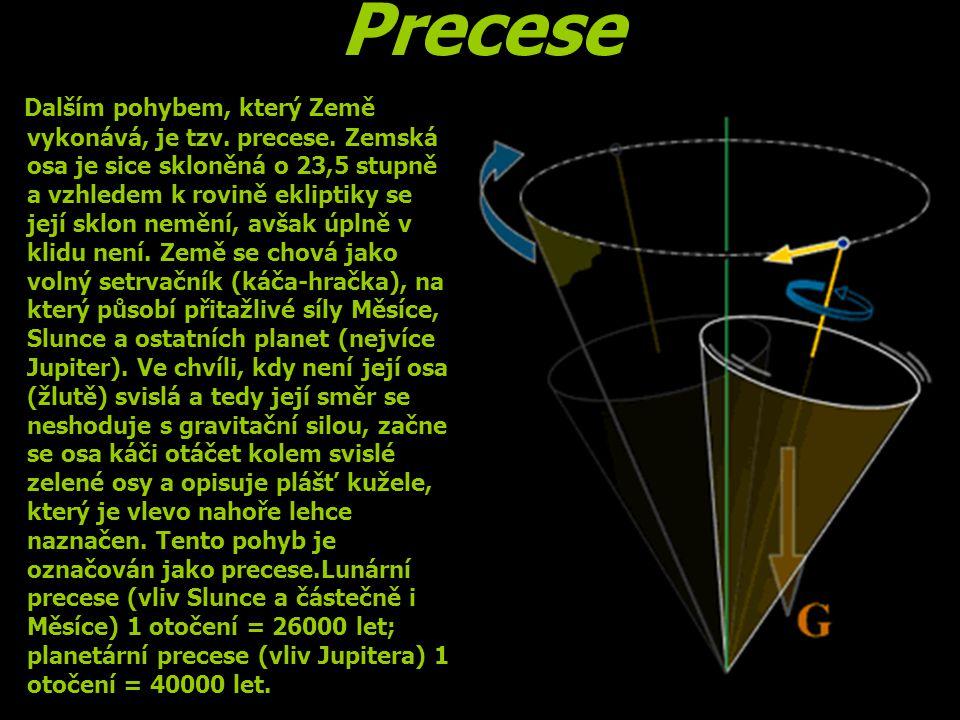 Precese Dalším pohybem, který Země vykonává, je tzv. precese. Zemská osa je sice skloněná o 23,5 stupně a vzhledem k rovině ekliptiky se její sklon ne