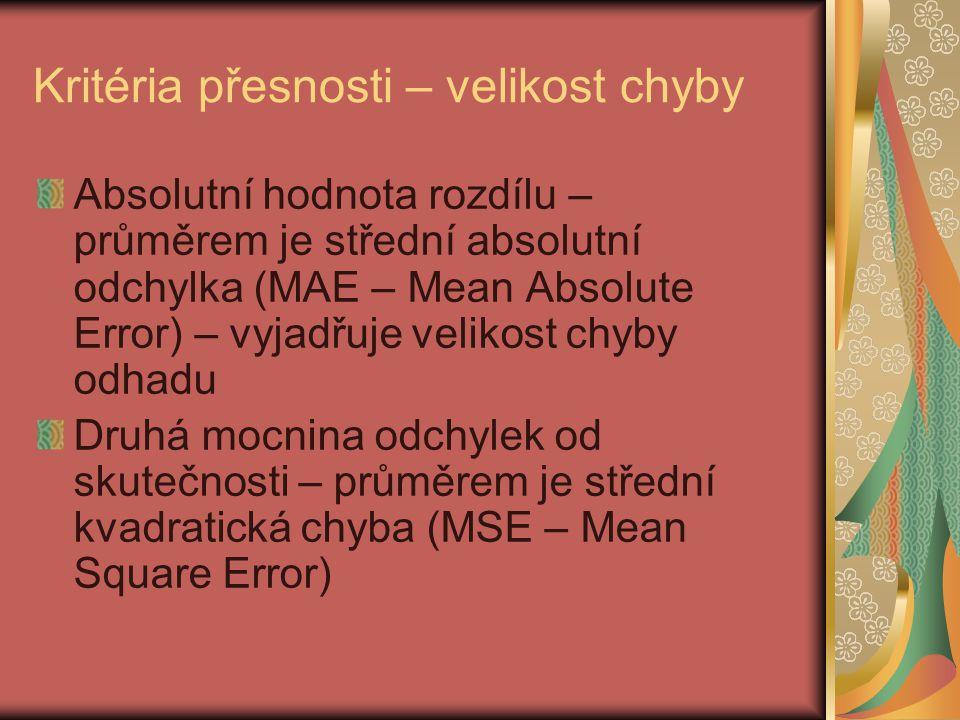 Kritéria přesnosti – velikost chyby Absolutní hodnota rozdílu – průměrem je střední absolutní odchylka (MAE – Mean Absolute Error) – vyjadřuje velikos