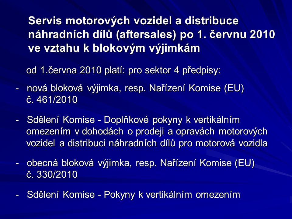 Servis motorových vozidel a distribuce náhradních dílů (aftersales) po 1. červnu 2010 ve vztahu k blokovým výjimkám Servis motorových vozidel a distri