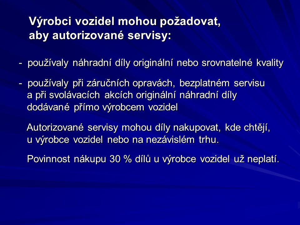Výrobci vozidel mohou požadovat, aby autorizované servisy: Výrobci vozidel mohou požadovat, aby autorizované servisy: - používaly náhradní díly originální nebo srovnatelné kvality - používaly náhradní díly originální nebo srovnatelné kvality - používaly při záručních opravách, bezplatném servisu a při svolávacích akcích originální náhradní díly dodávané přímo výrobcem vozidel - používaly při záručních opravách, bezplatném servisu a při svolávacích akcích originální náhradní díly dodávané přímo výrobcem vozidel Autorizované servisy mohou díly nakupovat, kde chtějí, u výrobce vozidel nebo na nezávislém trhu.