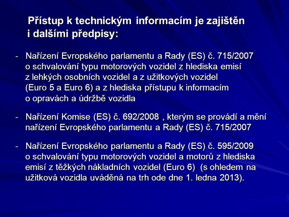 Přístup k technickým informacím je zajištěn i dalšími předpisy: Přístup k technickým informacím je zajištěn i dalšími předpisy: - Nařízení Evropského parlamentu a Rady (ES) č.