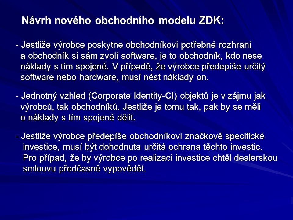 Návrh nového obchodního modelu ZDK: Návrh nového obchodního modelu ZDK: - Jestliže výrobce poskytne obchodníkovi potřebné rozhraní a obchodník si sám zvolí software, je to obchodník, kdo nese náklady s tím spojené.