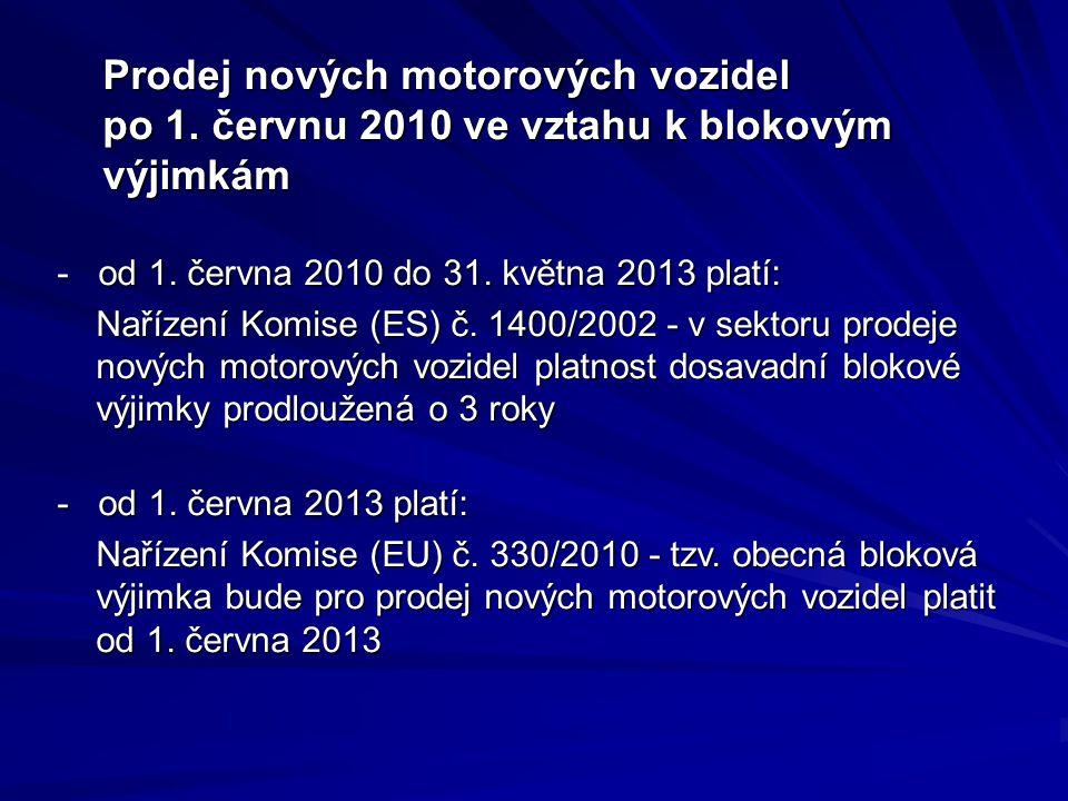 Prodej nových motorových vozidel po 1. červnu 2010 ve vztahu k blokovým výjimkám Prodej nových motorových vozidel po 1. červnu 2010 ve vztahu k blokov