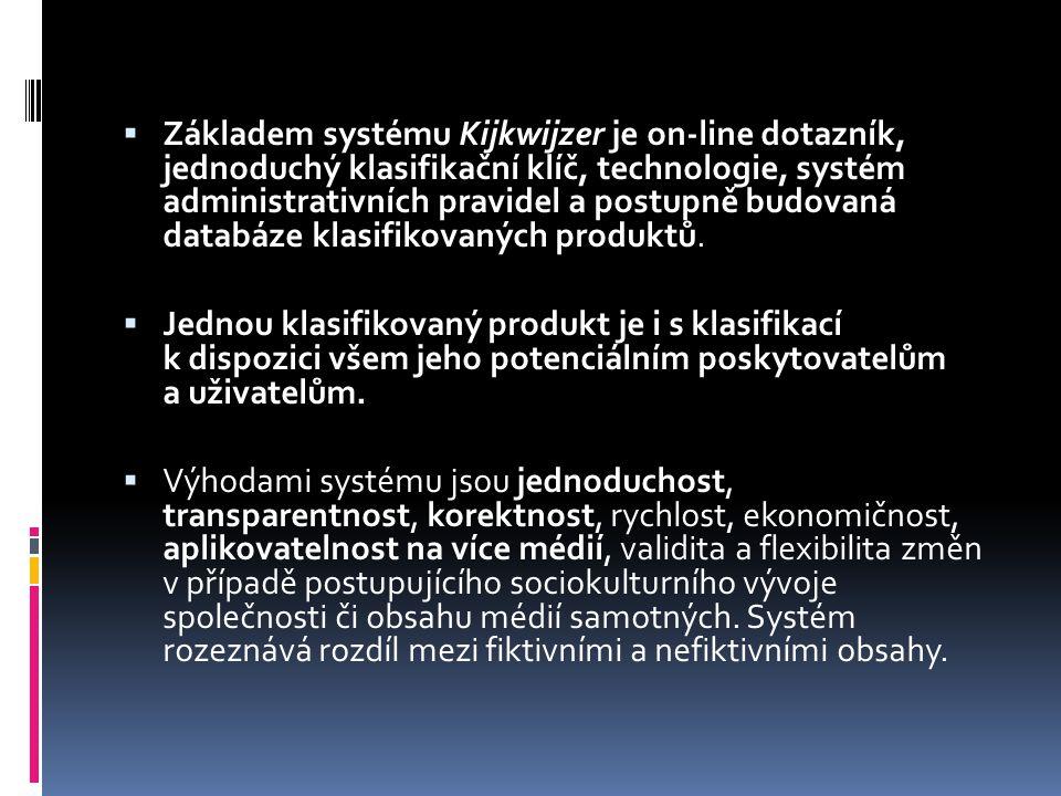  Základem systému Kijkwijzer je on-line dotazník, jednoduchý klasifikační klíč, technologie, systém administrativních pravidel a postupně budovaná databáze klasifikovaných produktů.