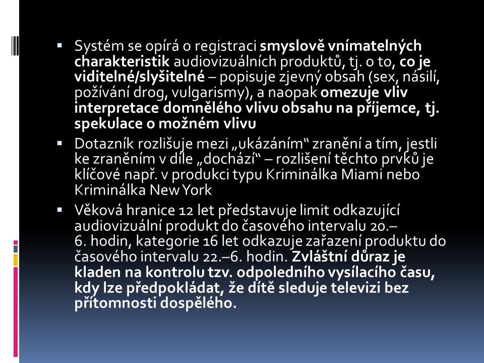  Systém se opírá o registraci smyslově vnímatelných charakteristik audiovizuálních produktů, tj.