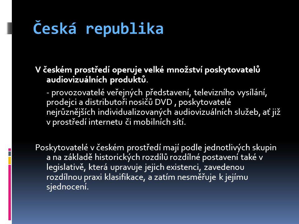 Česká republika V českém prostředí operuje velké množství poskytovatelů audiovizuálních produktů.