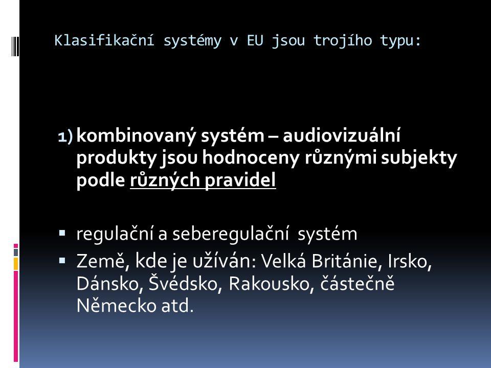 Klasifikační systémy v EU jsou trojího typu: 1) kombinovaný systém – audiovizuální produkty jsou hodnoceny různými subjekty podle různých pravidel  regulační a seberegulační systém  Země, kde je užíván: Velká Británie, Irsko, Dánsko, Švédsko, Rakousko, částečně Německo atd.