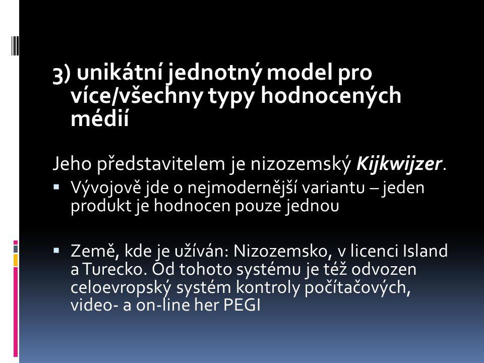 3) unikátní jednotný model pro více/všechny typy hodnocených médií Jeho představitelem je nizozemský Kijkwijzer.