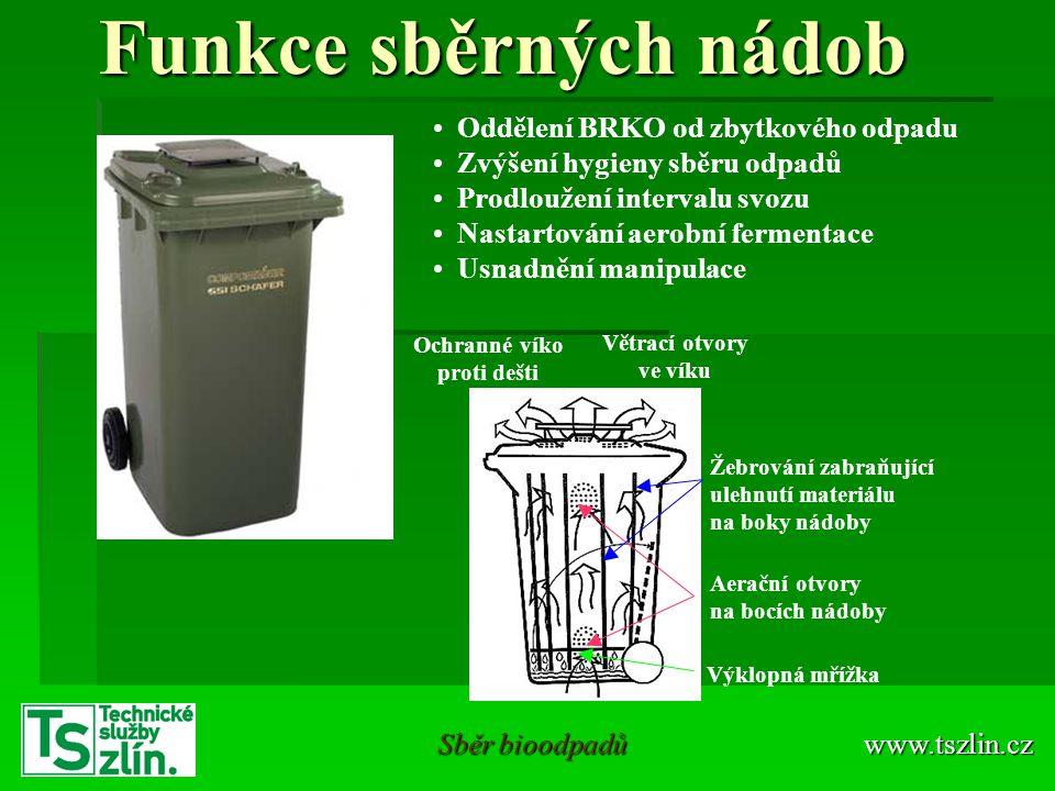 www.tszlin.cz Sběr bioodpadů Funkce sběrných nádob • Oddělení BRKO od zbytkového odpadu • Zvýšení hygieny sběru odpadů • Prodloužení intervalu svozu •
