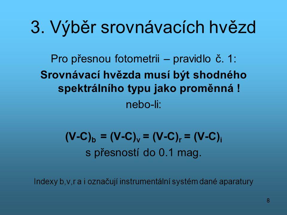 8 3. Výběr srovnávacích hvězd Pro přesnou fotometrii – pravidlo č. 1: Srovnávací hvězda musí být shodného spektrálního typu jako proměnná ! nebo-li: (