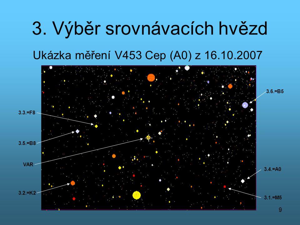 9 3. Výběr srovnávacích hvězd Ukázka měření V453 Cep (A0) z 16.10.2007 VAR 3.1.=M5 3.2.=K2 3.3.=F8 3.4.=A0 3.5.=B8 3.6.=B5