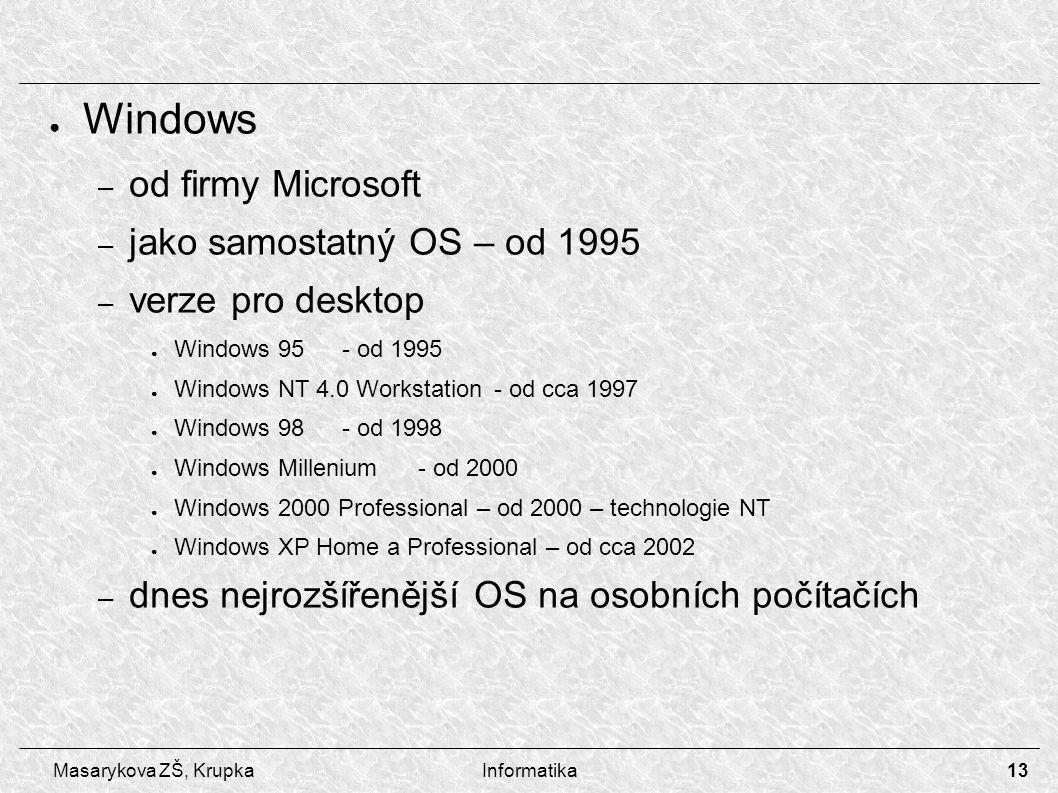 13 Masarykova ZŠ, KrupkaInformatika ● Windows – od firmy Microsoft – jako samostatný OS – od 1995 – verze pro desktop ● Windows 95- od 1995 ● Windows NT 4.0 Workstation- od cca 1997 ● Windows 98- od 1998 ● Windows Millenium- od 2000 ● Windows 2000 Professional – od 2000 – technologie NT ● Windows XP Home a Professional – od cca 2002 – dnes nejrozšířenější OS na osobních počítačích