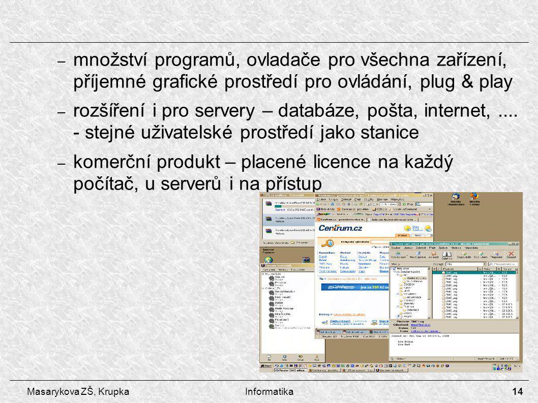 14 Masarykova ZŠ, KrupkaInformatika – množství programů, ovladače pro všechna zařízení, příjemné grafické prostředí pro ovládání, plug & play – rozšíření i pro servery – databáze, pošta, internet,....