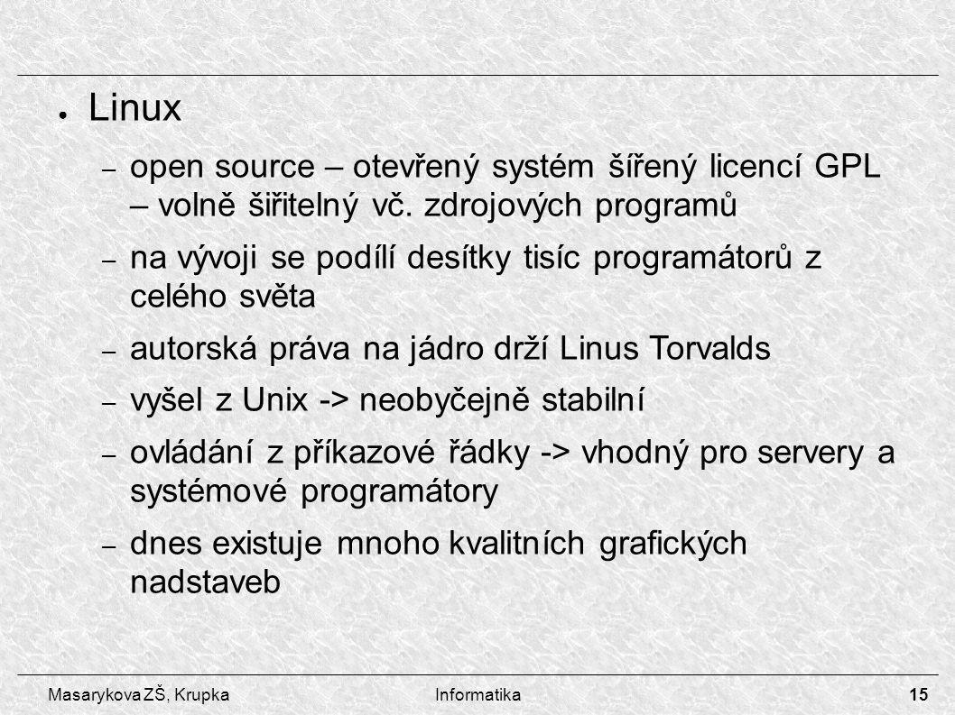 15 Masarykova ZŠ, KrupkaInformatika ● Linux – open source – otevřený systém šířený licencí GPL – volně šiřitelný vč.