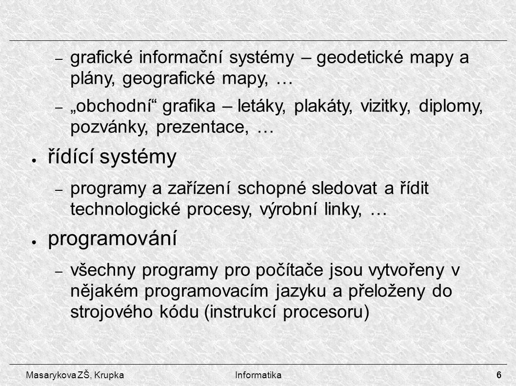 """6 Masarykova ZŠ, KrupkaInformatika – grafické informační systémy – geodetické mapy a plány, geografické mapy, … – """"obchodní grafika – letáky, plakáty, vizitky, diplomy, pozvánky, prezentace, … ● řídící systémy – programy a zařízení schopné sledovat a řídit technologické procesy, výrobní linky, … ● programování – všechny programy pro počítače jsou vytvořeny v nějakém programovacím jazyku a přeloženy do strojového kódu (instrukcí procesoru)"""