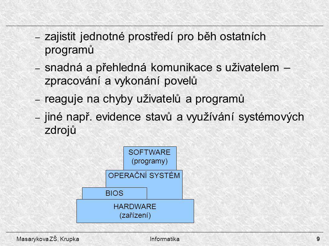 9 Masarykova ZŠ, KrupkaInformatika – zajistit jednotné prostředí pro běh ostatních programů – snadná a přehledná komunikace s uživatelem – zpracování a vykonání povelů – reaguje na chyby uživatelů a programů – jiné např.