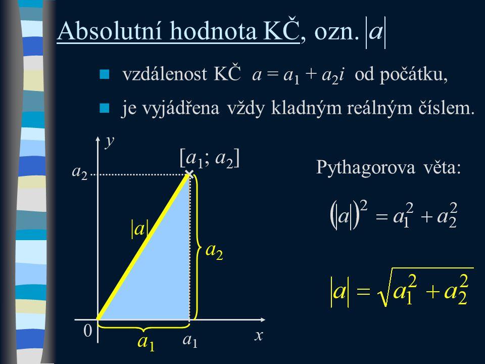  vzdálenost KČ a = a 1 + a 2 i od počátku,  je vyjádřena vždy kladným reálným číslem.