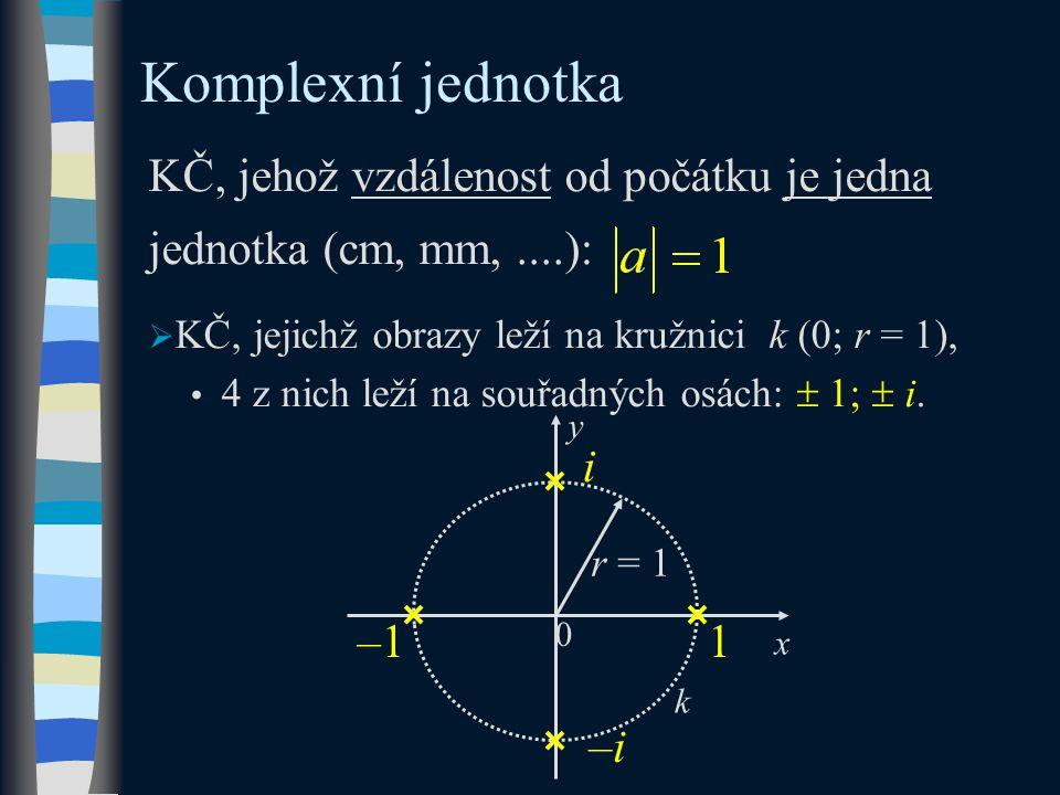 KČ, jehož vzdálenost od počátku je jedna jednotka (cm, mm,....):  KČ, jejichž obrazy leží na kružnici k (0; r = 1), • 4 z nich leží na souřadných osách:  1;  i.