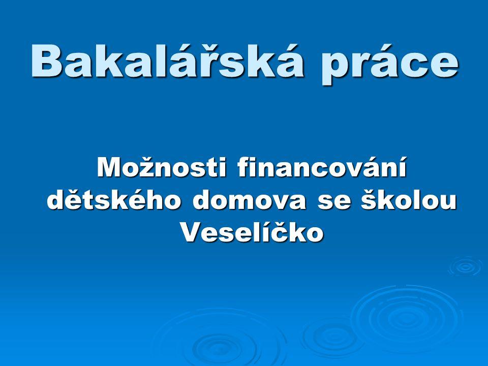 Bakalářská práce Možnosti financování dětského domova se školou Veselíčko