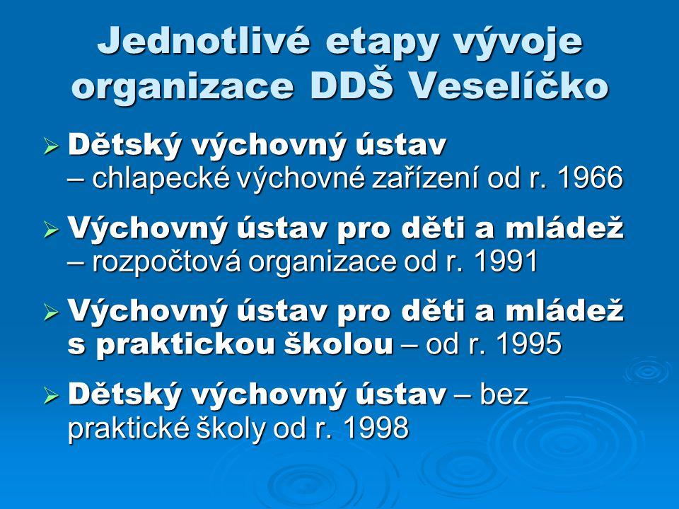 Jednotlivé etapy vývoje organizace DDŠ Veselíčko  Dětský výchovný ústav – chlapecké výchovné zařízení od r. 1966  Výchovný ústav pro děti a mládež –