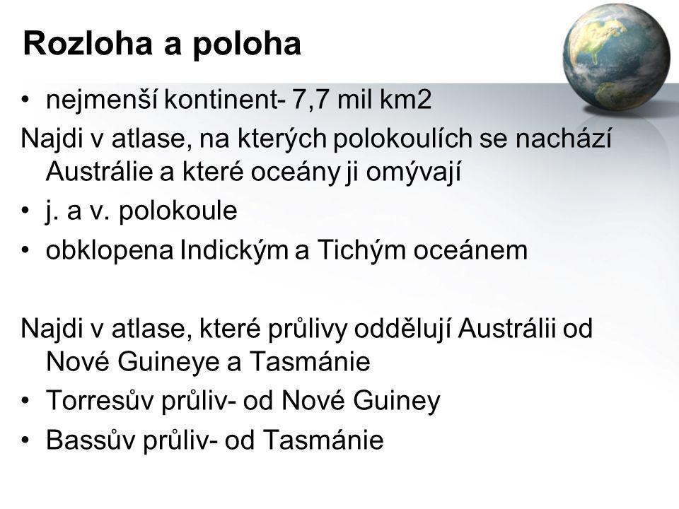 Rozloha a poloha •nejmenší kontinent- 7,7 mil km2 Najdi v atlase, na kterých polokoulích se nachází Austrálie a které oceány ji omývají •j. a v. polok